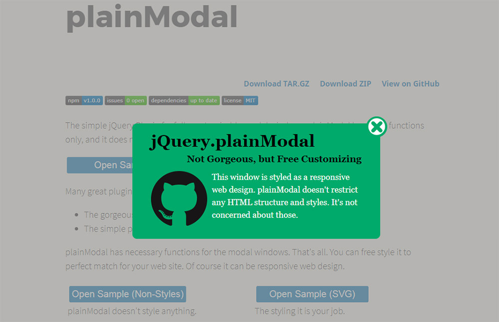 plainModal JavaScript plugin