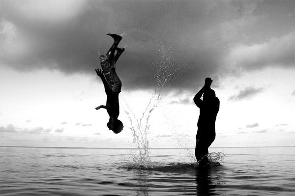 man flipping