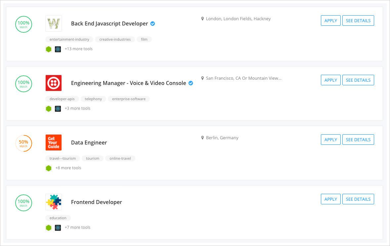 Stack Match jobs filter