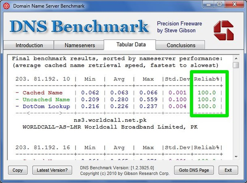 find realiable dns server
