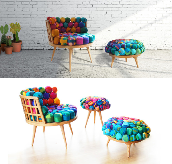 A furniture collection that's inspired by the shapes of pagoda roofs and  UFOs. The collection consists of a chair, table, and sofa, all of which are  ...