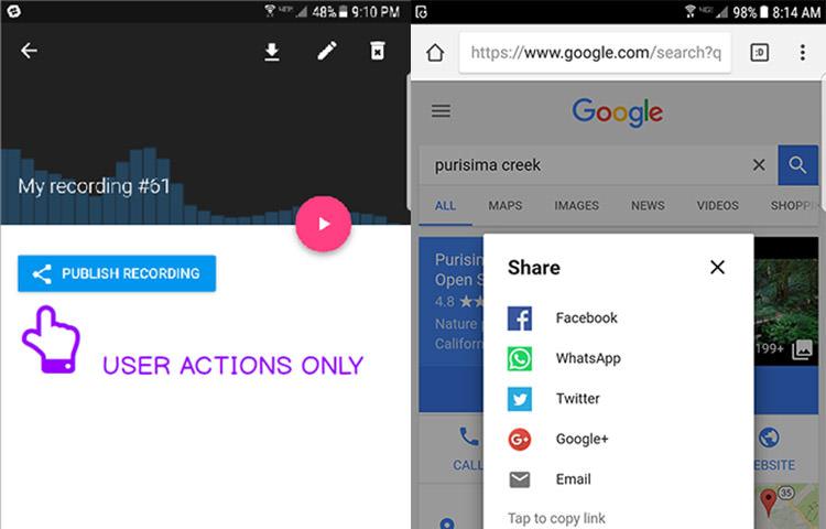 Web Sharing API demo in mobile phone.