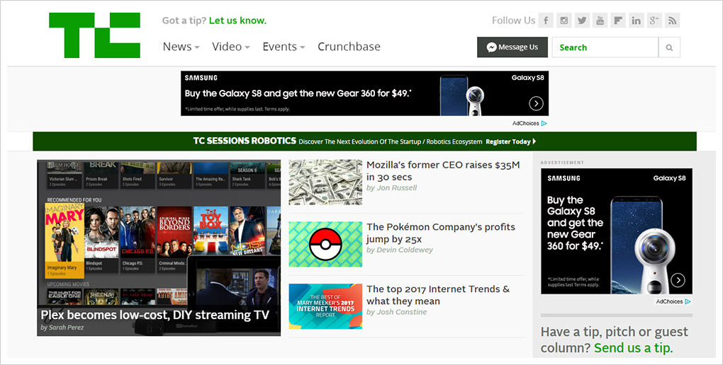 Techcrunch website