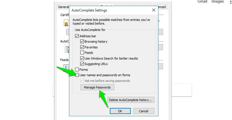 disable internet explorer save password