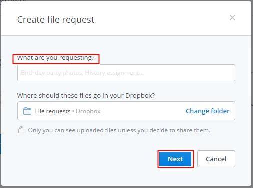Create file request in Dropbox