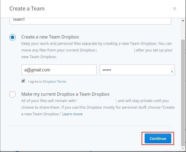 Create a team in Dropbox