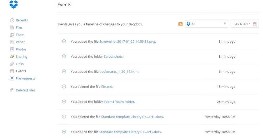 Events log of Dropbox