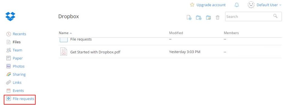 File requests in Dropbox