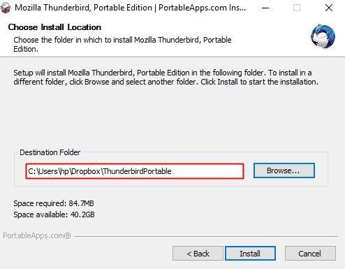 "Install portable app to ""Dropbox"" folder"