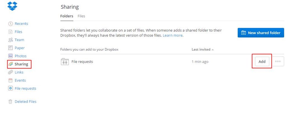 Re-join a shared folder in Dropbox