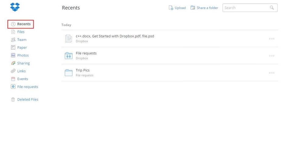 Recent activities in Dropbox