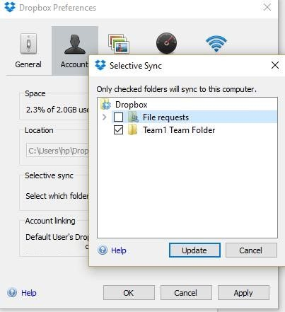 Selective Sync in Dropbox