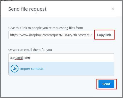 Send file request in Dropbox