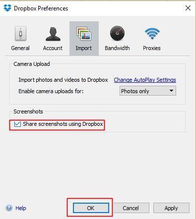 Share screenshots using Dropbox
