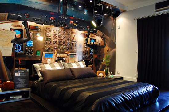 Airplane Cockpit Themed Bedroom