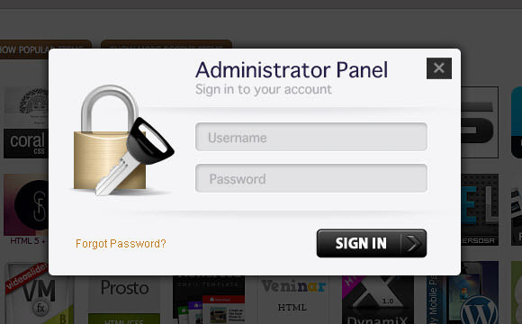 administrator login panel