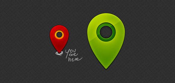 shiny little map pins