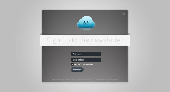 subscribe to newsletter modal box