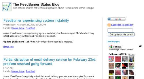 The FeedBurner support blog