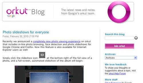 Orkut blog