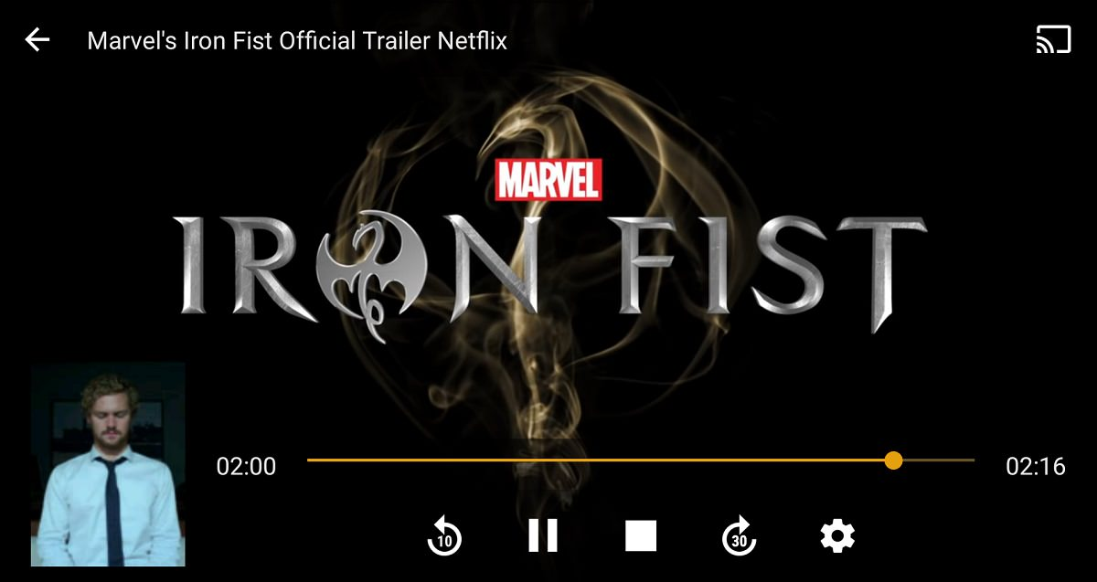 Playing Iron Fist trailer on Plex