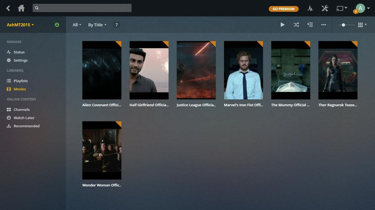 Plex Web dashboard