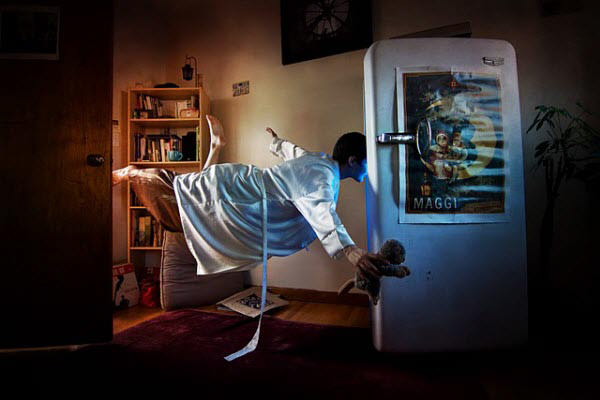 levitation photography with textures
