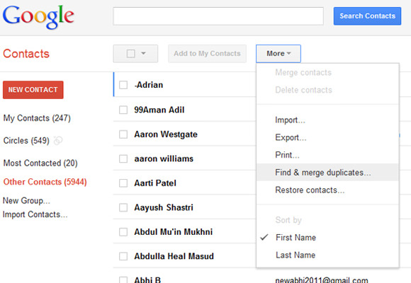Find and merging duplicates Google Contacts