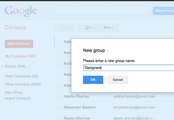 Contacts menu creating new group