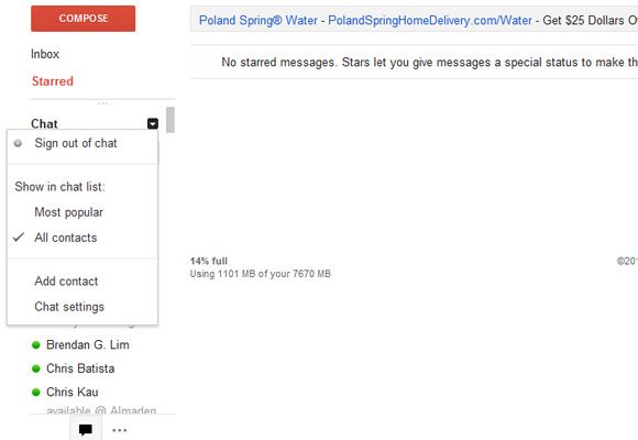 GMail logged into chat settings