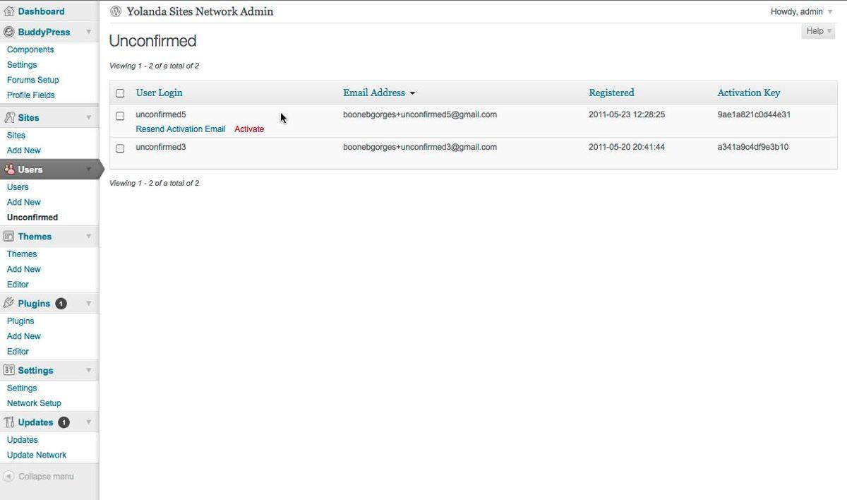 Unconfirmed lets you resend activation emails