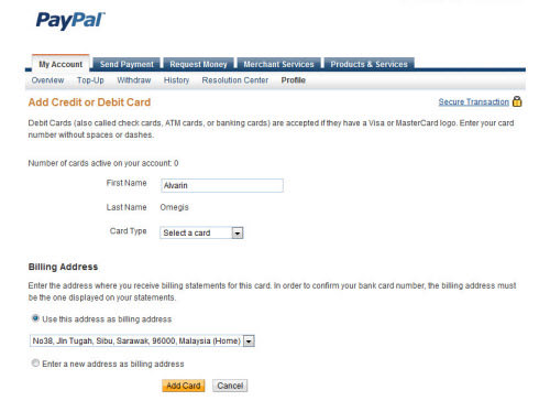 PayPal - Add Credit Card