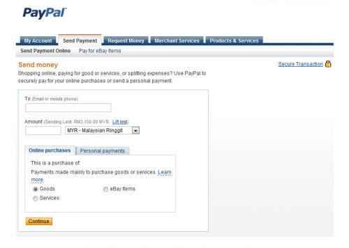 PayPal - Send Money Options