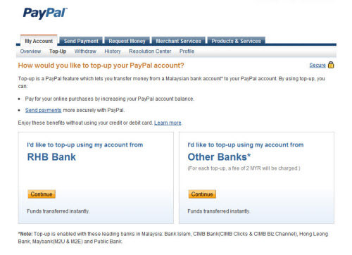 PayPal - Top-Up