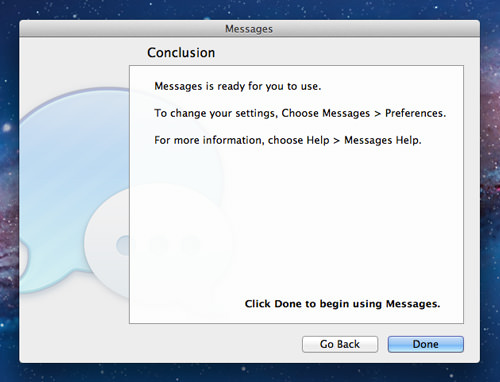 Messages Beta setup 3