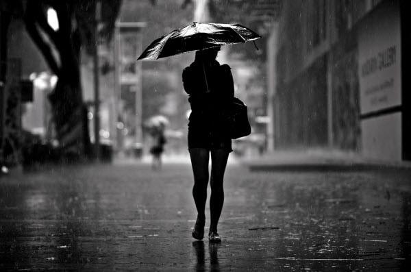 silhouette in the rain