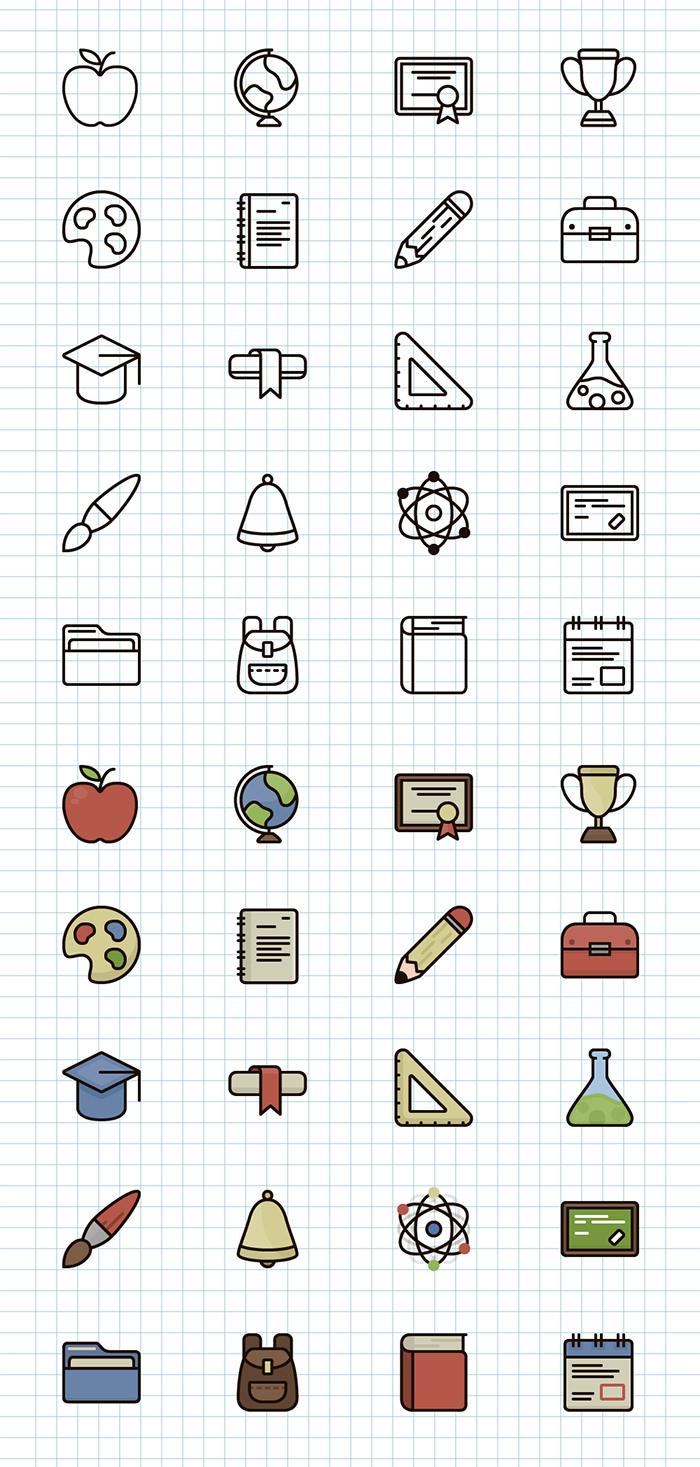 line-color-icons-school