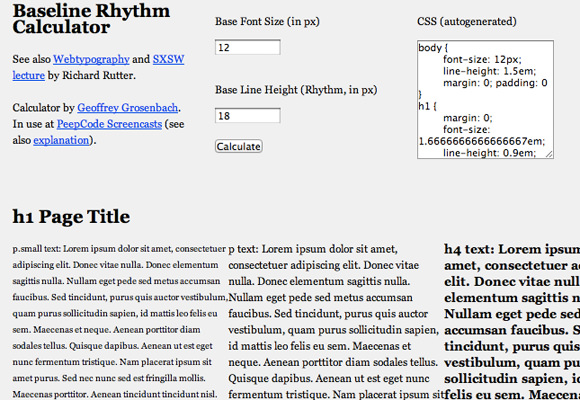 Baseline calculator tool for CSS development