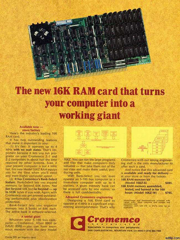 The New 16K RAM Card That Turns Your Computer into A Working Giant
