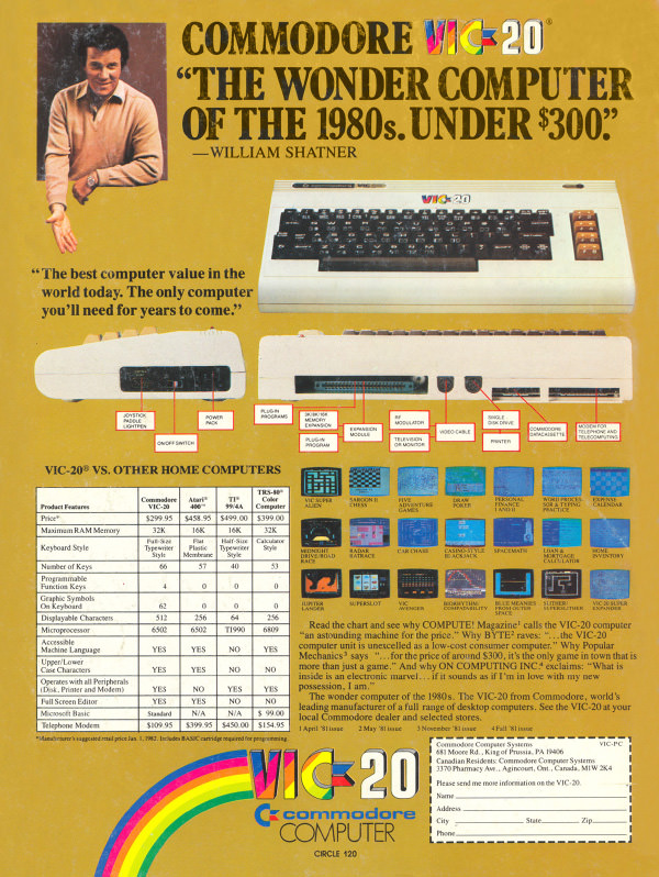 Commodore VIC-20 advertisement from Personal Computing
