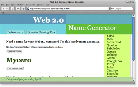 Web 2 0 name generator