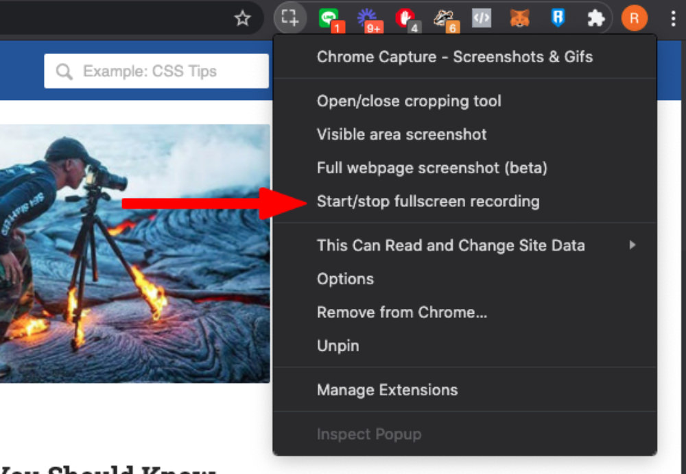 Create GIF using Chrome Capture