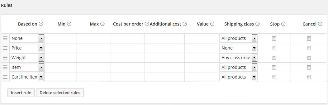 Settings for Flexible Shipping for WooCommerce