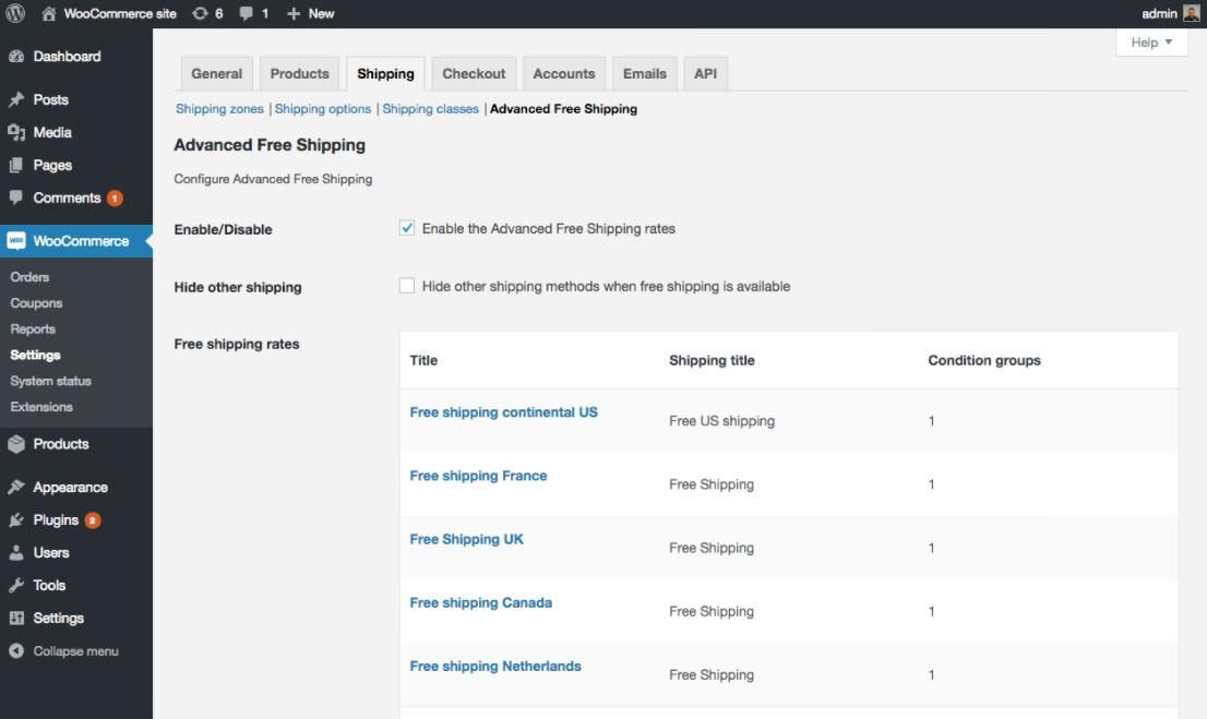 Settings of WooCommerce Advanced Free Shipping