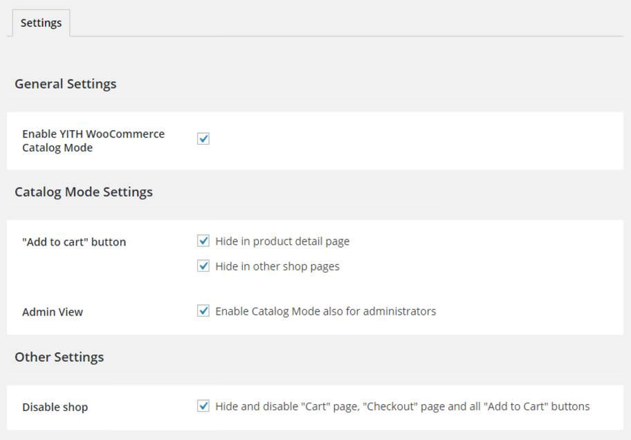 Settings of YITH WooCommerce Catalog Mode