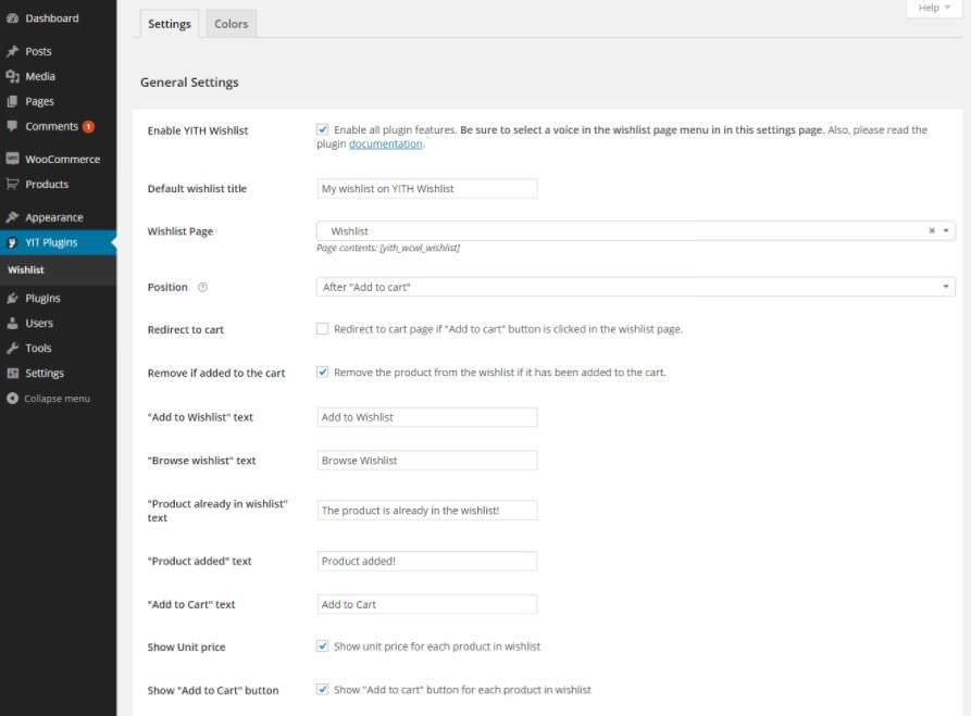 Settings of YITH WooCommerce Wishlist