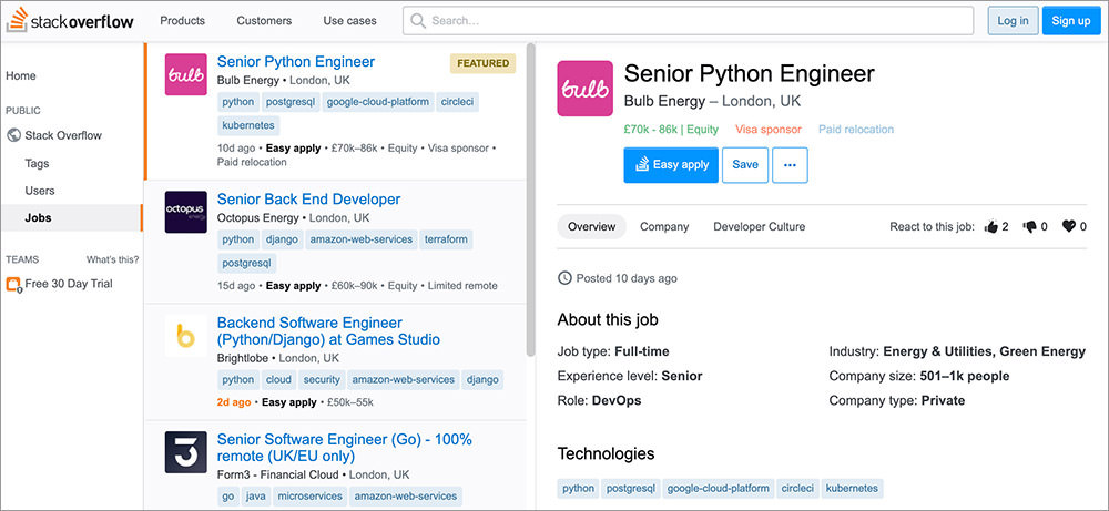 StackOverflow Job Listing