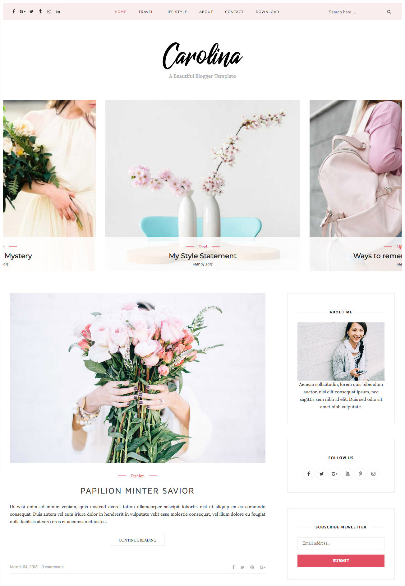 Carolina-Personal-Blogger-Template