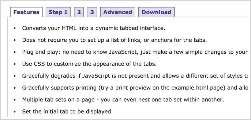 JavaScript Tabifier