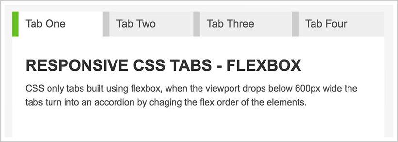 Responsive Flexbox Tabs